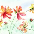Royalty-Free Stock Photo: Colorful watercolor illustration with beautiful flowers