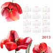 Calendar for 2013 with Beautiful Tulips flowers — Stock Photo