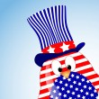 Stock Photo: Vector blue sky background with penguin fourth of July