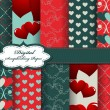 Stock Vector: Set of Valentines day vector paper for scrapbook