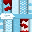 Set of Valentines day vector paper for scrapbook - Imagens vectoriais em stock