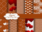Set of Valentines day vector paper for scrapbook — Stock Vector