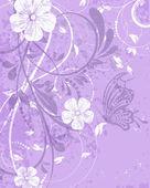 Retro vector bruiloft uitnodiging, floral decoratieve abstracte achtergrond, vlinder — Stockvector
