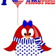 Vector white background with penguin fourth of July — Imagen vectorial