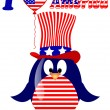 Vector white background with penguin fourth of July — Stock Vector
