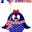 Stock Vector: Vector white background with penguin fourth of July