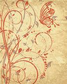 Vektor blomma bakgrund med fjäril — Stockvektor