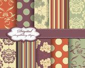 Set of damask flower vector paper for scrapbook — Stockvektor