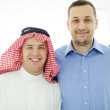 Arabic and caucasian european men together — Stock Photo