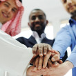 Business team overlapping hands — Stock Photo #11675561