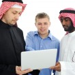 A business team of three planning work in office — Stock Photo