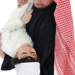 Arabic Muslim father and son standing together — Stock Photo