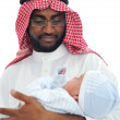 Happy Arabic Father Holding Baby — Stock Photo