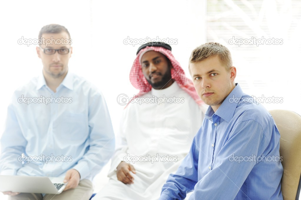 Multicultural different ethnic group working on laptop together — Stock Photo #11689185