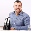 Businessman holding folders with documents — Stock Photo