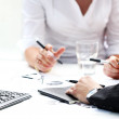 Details of working process at business meeting — Stock Photo