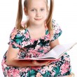 Cute girl with big book — Foto Stock