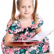Cute girl with big book — Stock Photo #10931278
