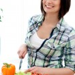 Royalty-Free Stock Photo: Happy woman preparing a healthy salad