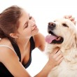 Happy woman and her beautiful dog — Stock Photo