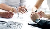 Detaljer för arbetsprocessen på affärsmöte — Stockfoto