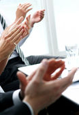 Hands of businesspeople applauding during a meeting — Stock Photo