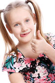 Funny girl with thumb up — Stock Photo