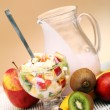 Fruit salad with yoghurt — Stock Photo
