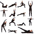 Collage of different fitness exercises — Foto de Stock