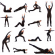 Collage of different fitness exercises — Stock Photo