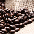 Royalty-Free Stock Photo: Coffee beans on cloth sack