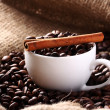 Cup with coffee beans and cinnamon stick — Stok fotoğraf