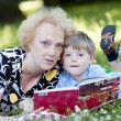 Grandmother reading the book to her grandson — Stock Photo