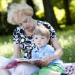 Grandmother reading the book to her grandson — Stock Photo #11835150