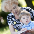 Grandmother reading the book to her grandson — Stock Photo #11835159