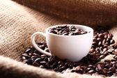 Fincan kahve çekirdekleri ile tam — Stok fotoğraf