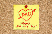 Happy Fathers Day Sticky Note — Stock Photo