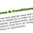 Terms and Conditions highlighted in green — Stockfoto