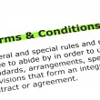 Terms and Conditions highlighted in green — 图库照片