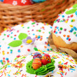 Stock Photo: Easter eggs and cakes