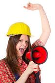 Craftswoman with megaphone — Stock Photo