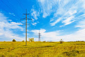 Powerlines over the meadow — Stock Photo