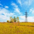 Powerlines over the meadow - Stock fotografie