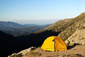 Camping and tent in mountains — Stock Photo