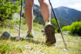 Nordic walking legs in mountains — Stock Photo