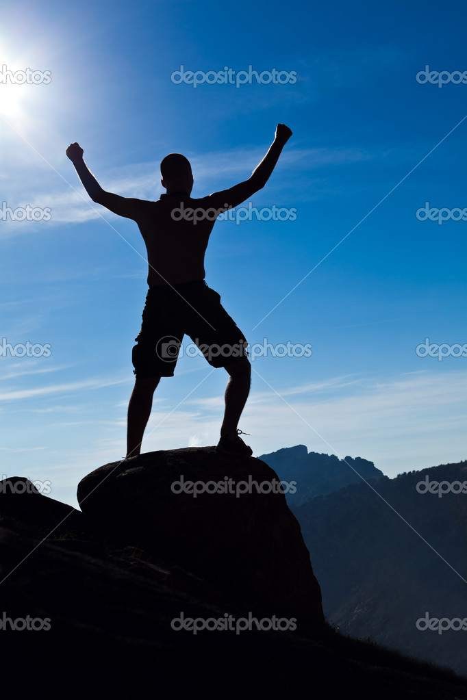 Man climbing in mountains, success concept. — Stock Photo #11311725