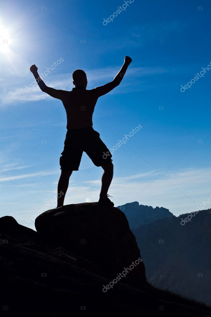 Man climbing in mountains, success concept.  Foto Stock #11311725