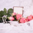 Beautiful pink roses with banner add — Stock Photo #10882999
