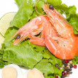 Tasty fried prawn food with salad and eggs — Stock Photo #11419073