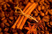 Kawa i cynamon tło — Zdjęcie stockowe